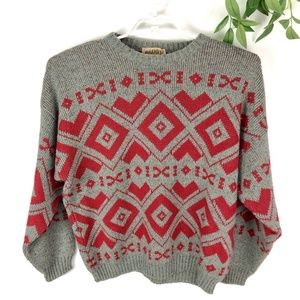 80's Vintage Red Geometric Abstract Wool Sweater